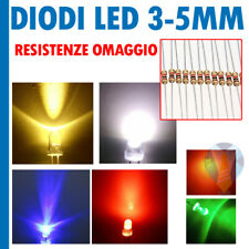 DIODI LED 3 - 5 mm + RESISTENZE 12V OMAGGIO BIANCHI BLU ROSSO VERDE ARANCIONE