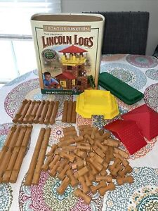Original Lincoln Logs Frontier Junction Classic Container Not Complete  81/100pc