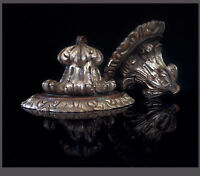Italian Near Pair Of Baroque Style Wood Carved  & Silvered Wall Brackets.1920`s