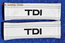 """2x pastillas de cubiertas de cinturón de seguridad de cuero blanco """"TDI"""" Negro Bordado"""