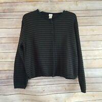 J. Jill Womens Petite Size PS Cardigan Sweater Striped long Sleeve Round Neck