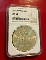 1975 FRANCE 50 FRANCS COIN NGC MS 63 LARGE SILVER