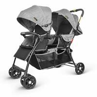 NEW Tandem Double Twin Baby Stroller Buggy Pushchair Pram From Birth - Grey