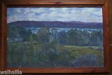 Abstrakte alte Landschaft mit See   Ölgemälde