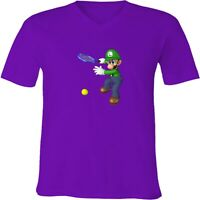 Nintendo Super Mario Luigi Tennis Unisex Men Women V-Neck Fun Video Game T-Shirt