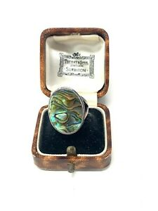 Fantastic Vintage Sterling Silver 925 Mother of Pearl Ring Size O #1088