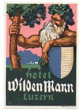1930s Luggage Label Hotel WildenMann Luzern Nice Graphics