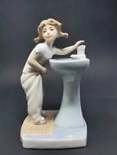 Vintage Lladro Girl Figurine-#4838 Girl Washing at Bathroom Sink-Mint-Ae