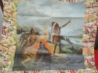 Antique Schwab & Wolf NY Chromolithograph Fabric 1908 Camp Fire First Americans