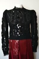 ZARA LIMITED EDITION BLACK SEQUINNED SWEATER SIZE S REF. 0431/110