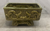 Vintage American Bisque Planter Ceramic Green Ornate Bow Pedestal Foot
