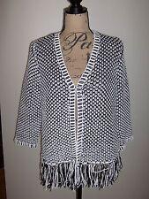 CHICO'S Bi-Color Fringe Textured Cardigan Sweater NWT Black/White Size 2 $119