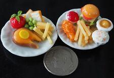 Dollhouse Miniatures 2 Plates of Food Salmon Steak & Cheeseburger Fried Chicken
