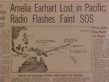 VINTAGE NEWSPAPER HEADLINE ~AMELIA EARHART AIRPLANE FLIGHT SOS PLANE CRASH LOST