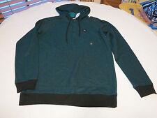Men's RVCA surf skate brand long sleeve shirt hoodie M turquoise heather NWT