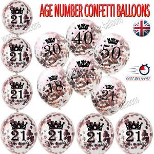 Rose Gold Age Birthday Balloons 16th 18th 21st 30th 40th Birthday Decoration