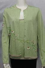 Oscar De La Renta Women Lime Green Jacket Cardigane 2Pcs Tank Top Flower Beads M