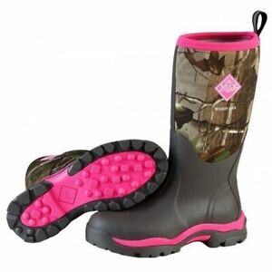 Muck Boots Women's Woody Insulated Waterproof Hunting Boots in Black and Pink