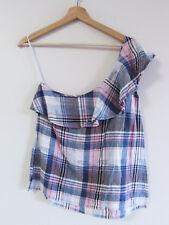0bbc888cbe8 Cloth   Stone Size L Pink Blue White Plaid Check Linen Ruffle One Shoulder  Top