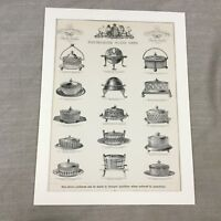 1880 Argento Burro Piatto Advertising Motivi Vittoriano Pubblicità Antico Stampa