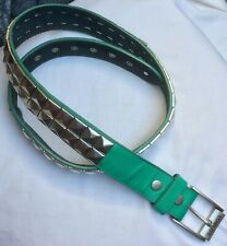 Lowlife Mens/Ladies Size M Silver Tone Pyramid Studded Jade Green Belt