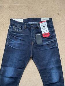 "Diesel Men's D-VIDER Stretch Carrot Low Crotch Blue Jeans, W32"", L31"", £250"