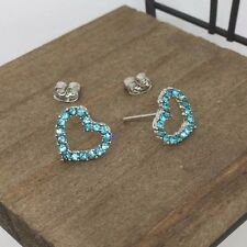 Blue Heart Crystal Titanium Post Stud Earrings Made in Korea US Seller