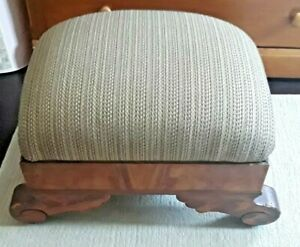 Empire Style Vintage or Antique  Walnut Storage Foot Stool