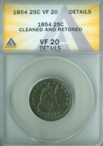 1854 Seated Liberty Quarter ANACS VF-20 Details FREE S/H (2127175)