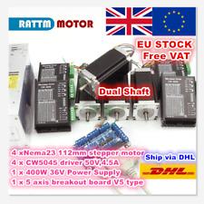 【UK】4 Axis Dual Shaft Nema23 112mm CNC Stepper Motor 425oz-in+CW5045 Driver Kit