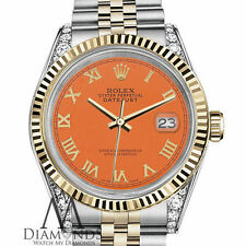 Special Orange Rolex 26mm Datejust 2Tone 18KGold Roman Numeral Diamond shoulders