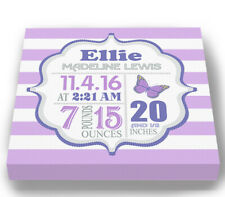 Personalized Stretched Canvas Birth Announcement Gift Butterfly Wall Art Decor