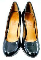 Michael Kors Pump Women's Sz 7 M Black Patent Round Toe Slip On High Heel Brazil