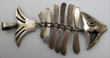 Fish Bone Necklace Pendant Sterling Silver Vintage Jewish 7.3 Grams