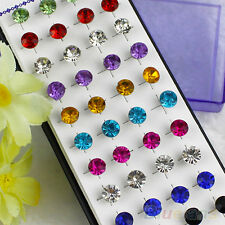 Wholesale 20 Pair Mixed Lot Dazzling Round Crystal Unisex Stunning Stud Earrings
