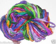 100g Sari Silk Ribbon craft ribbon, jewelry making more purple****