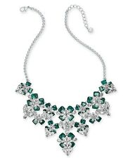 """Charter Club Silver-Tone Emerald Crystal Stone Flower Statement Necklace 17"""" + 2"""