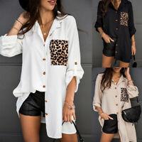 Women's Long Sleeve Leopard T-Shirt Ladies Loose Button Blouse Tops Shirt Dress