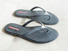 Prada Saffiano print Rubber Black Thong Flip Flop Sandal Size 36