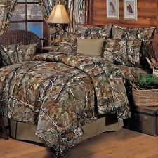 Bedding Comforter Set Queen Size Realtree Camo Hunters Home Mountain Hut Lodge