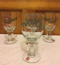 "Set of 3 Lovely Clear Glass Wide Thick Pedestal 7"" tall Green Vine Pink Flower"