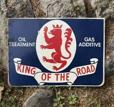 Vintage KING OF THE ROAD Oil Treatment & Gas Advertising METAL Sign 1960's RARE