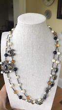 "Chanel Necklace Blue Citrine Pearl 40"" Authentic 1750.00 Orig 1907.00 W/tax"