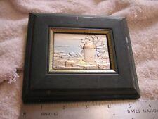 Sterling Silver Repousse Art Windmill Scene Framed