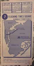 NOS 1976 New York City Subway 7 Flushing Line Train Timetable Map Schedule NYC