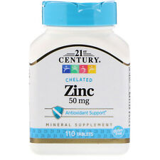 21st Century Zinc  Chelated 50mg (450%) GLUTEN FREE immune Health Tablets 110 ct
