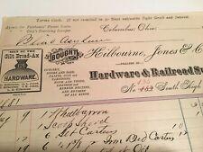 1881 COLUMBUS OHIO KILBOURNE JONES HARDWARE RAILROAD SUPPLY BILLHEAD ADVERTISING