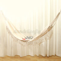 "39.3"" Beige Hanging Cotton Rope Macrame Hammock Chair Swing Outdoor Home Garden"