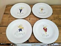 "Pottery Barn Christmas Reindeer Salad Dessert Plates Set Of Four 8.5"" Silver Trm"