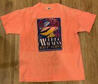 Mudbug Madness Vintage 1991 Neon Orange Coral Short Sleeve TShirt Size OS Medium
